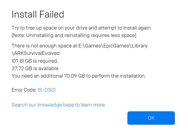 Low Space Error